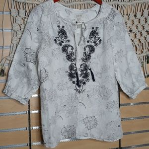 100% linen navy white paisley embroidery top